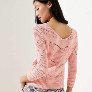 NWT LOFT Pointelle Scoop Back Peach Pink Sweater M